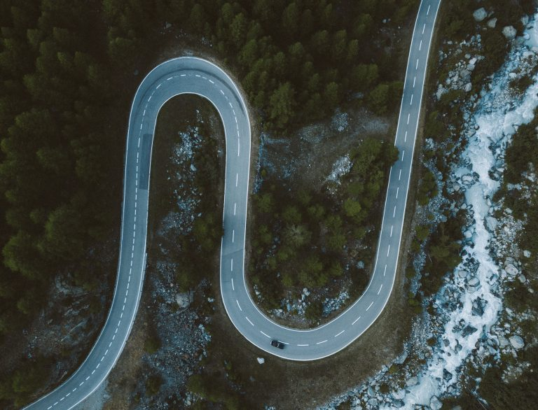 windy road from a birds eye view