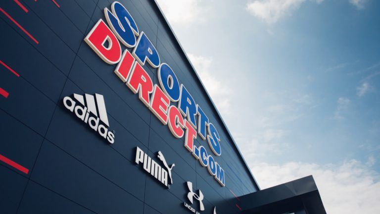 Sports Direct warehouse shop front including logo and customer logos
