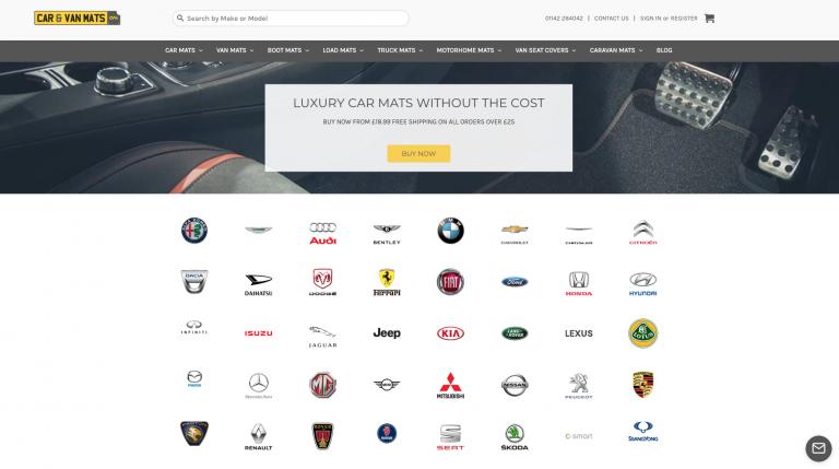 screen shot of car and van mats website