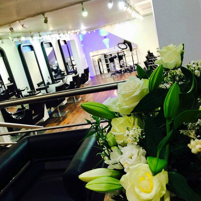 salon with flowers